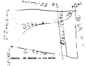 Drawing of Red Bank Plantation tract accompanying bill of sale, dated Dec. 4, 1829, between Isaac Hendricks and Albert G. Phillips. Source: http://bit.ly/sDn8eO