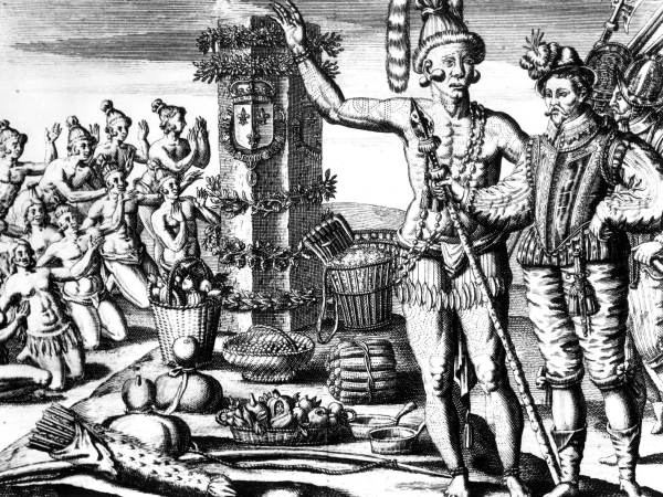 The Timucua show Laudonniere the column erected by Jean Ribault in 1562.  State Archives of Florida, Florida Memory, https://floridamemory.com/items/show/4352