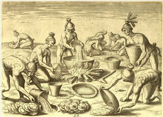 The Timucua, as depicted by Jacques Le Moyne, prepare a feast for to commemorate Laudonniere's visit..