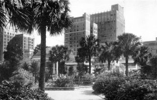 """Jacksonville, nurtured in the tropics, grows towards the sky."" View from Hemming Park, 1941."