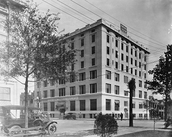 YMCA, Jacksonville, c. 1910s, after completion. It still stands at the northeast corner of Laura and Duval Streets and the Jake M. Godbold City Hall Annex. Jacksonville Historical Society Collection.
