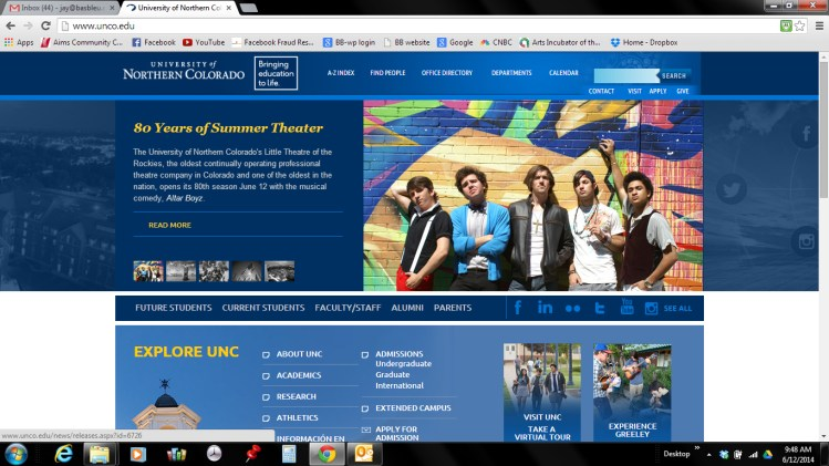 UNC main web page photo of AB