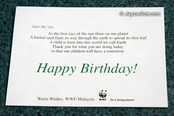 Happy birthday greeting from WWF-Malaysia