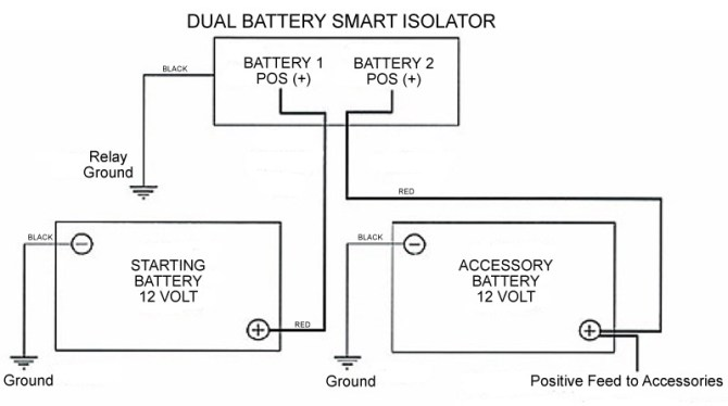 dual battery smart isolator 12v relay for auto/boat/rv
