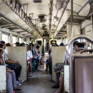Inside the Wongwian Yai train