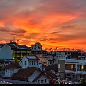 Sunset over Wongwian Yai, Bangkok