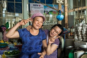 Friendly sellers at Phan Rang fresh market