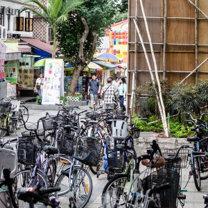 Cheung Chau residents use bikes for their transportation due to the narrow roads on this island