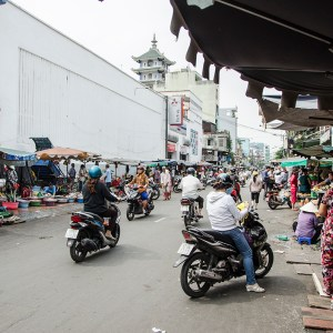 Motorbikes riding along in Ho Chi Minh City