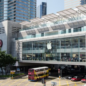 This is a massive Apple store in the IFC Mall on Hong Kong Island