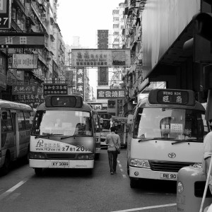 Small buses providing transportation in the Mongkok area of Kowloon