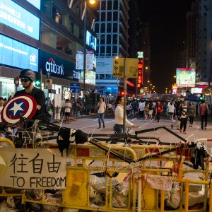 Peaceful protesters at the Mongkok location