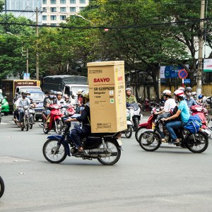 Fridge on a motorbike - Ho Chi Minh CIty, Vietnam