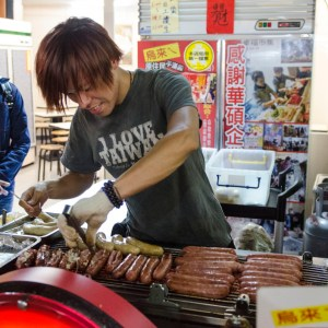 Sausage food cart at Shilin Night Market - Taipei, Taiwan