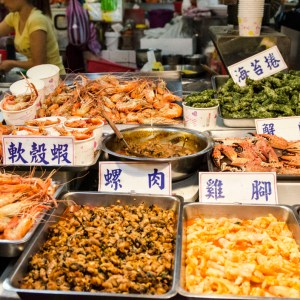 Seafood at the Shilin Night Market in Taipei, Taiwan