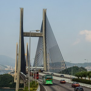 Tsing Ma Bridge connects Lantau Island with Hong Kong