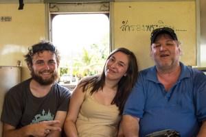 Pierre, Bila, and me, relaxing on the Mae Klong Train.