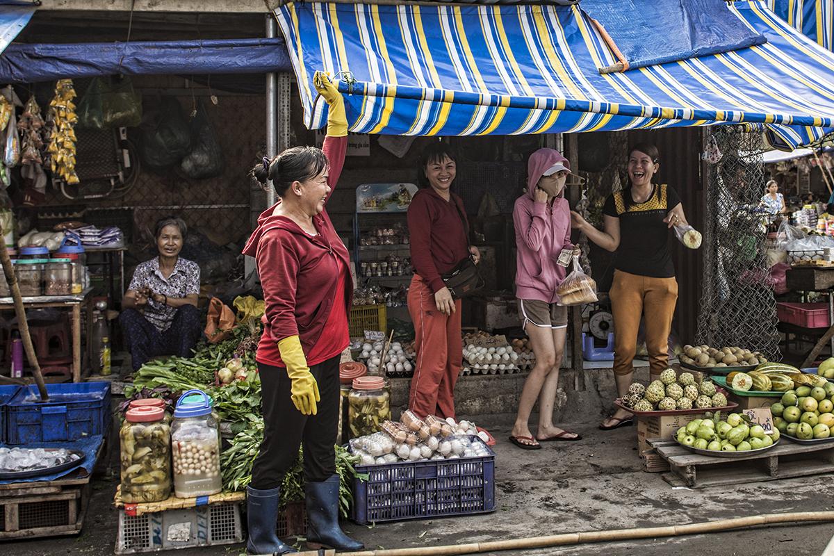 Having fun at the local market in District 9, Saigon