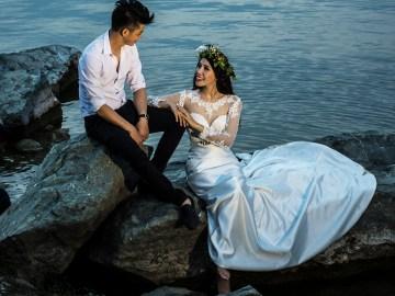 The cute wedding couple