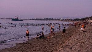Lots of people starting the day off with a swim in Phan Rang Bay.
