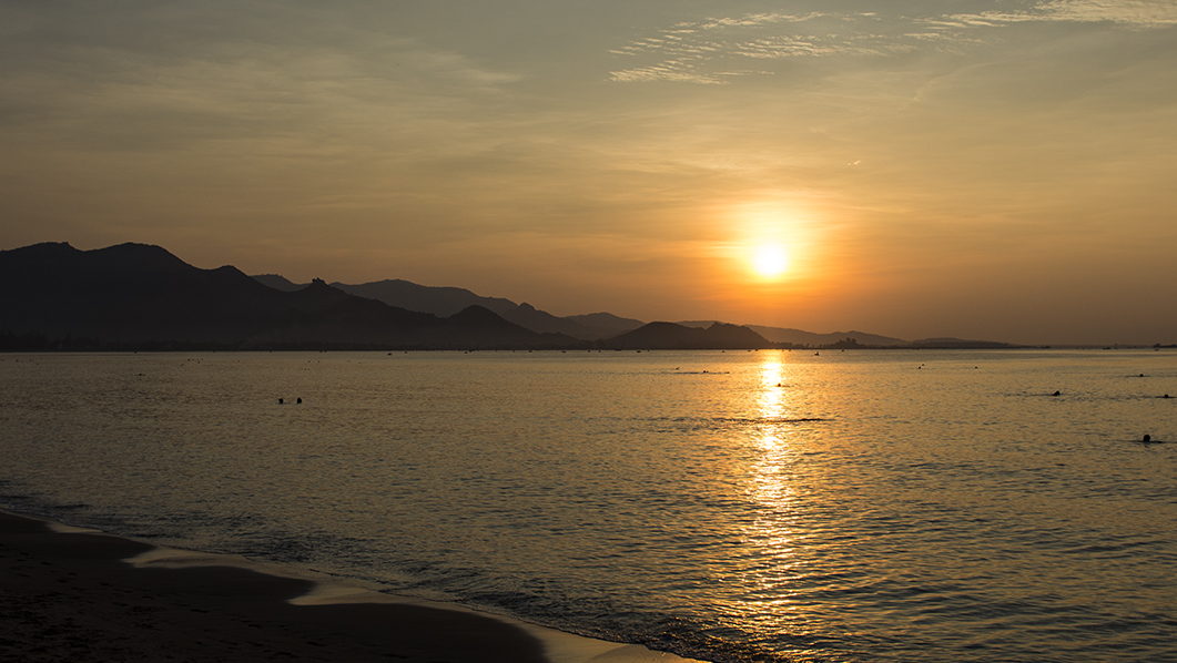 Watching the sun rise at Phan Rang Bay