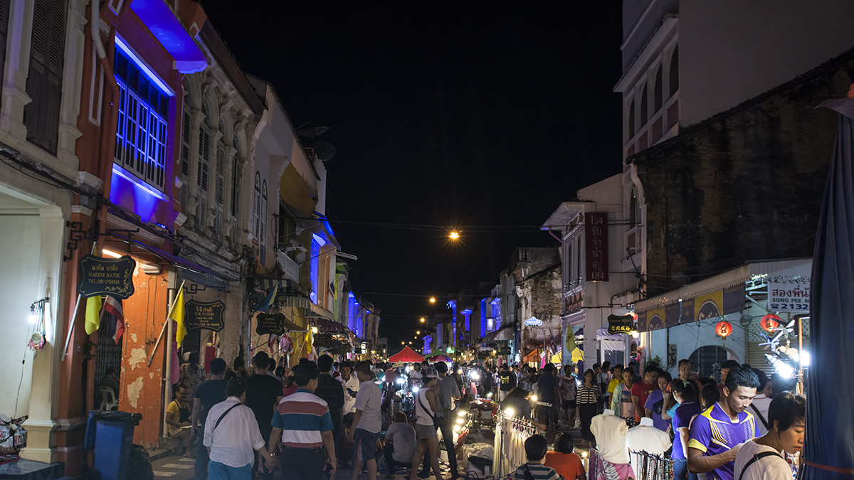 The Phuket Sunday Night Market, or Walking Market, with it's beautiful Sino-Portuguese architecture lit up for the market.