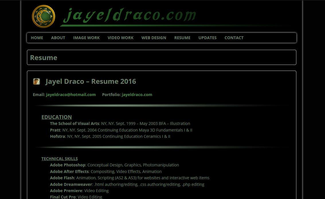 Resume 2016 Jayel Draco Jayeldraco Com