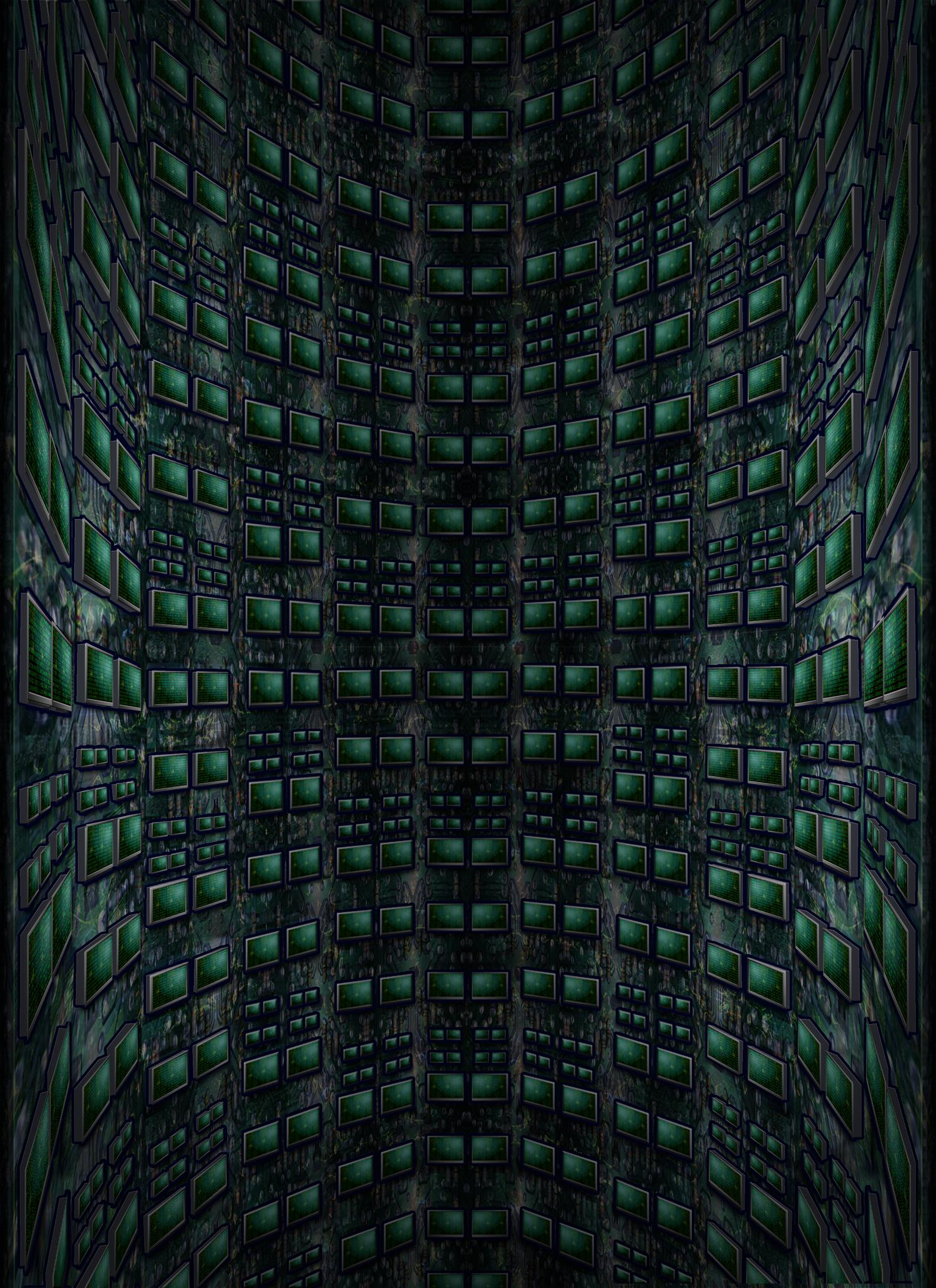 Neo Digital Retro Futura CRT Monitor Shaft Walls by Jayel Draco