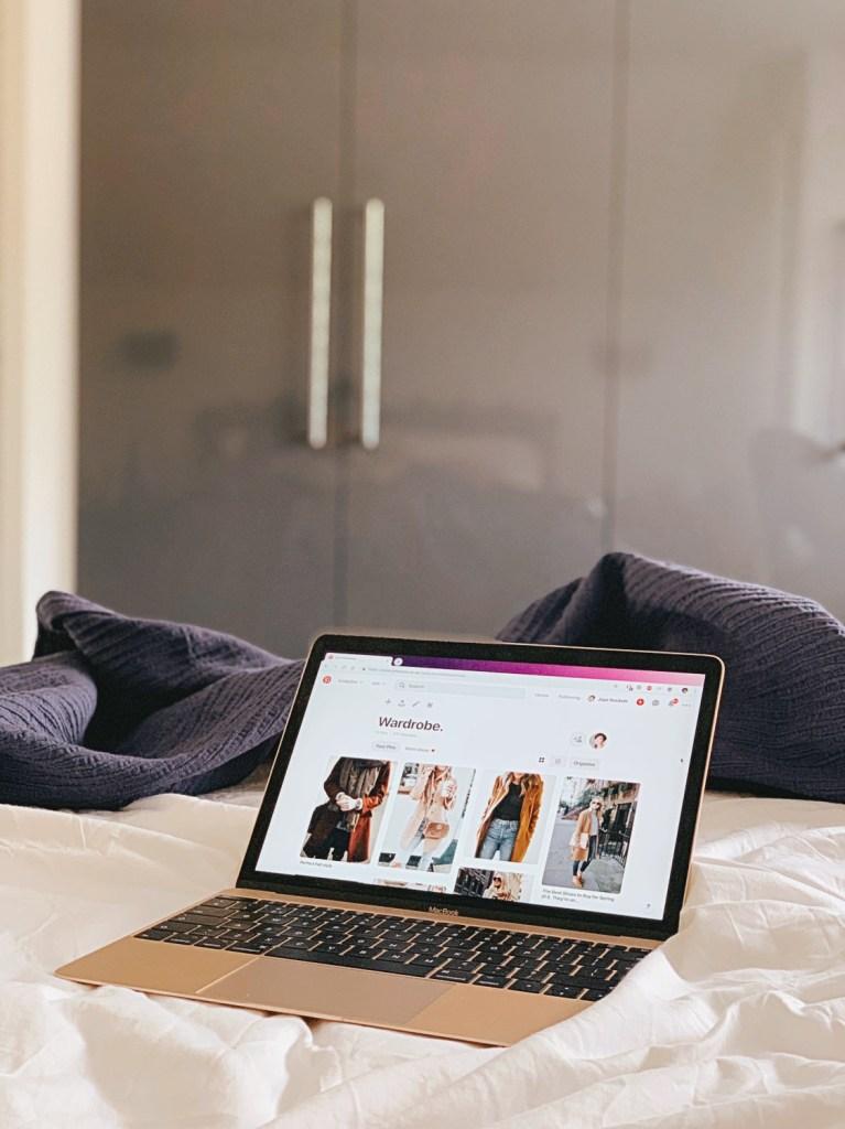 Jaye Rockett gold macbook on bed pinterest wardrobe board