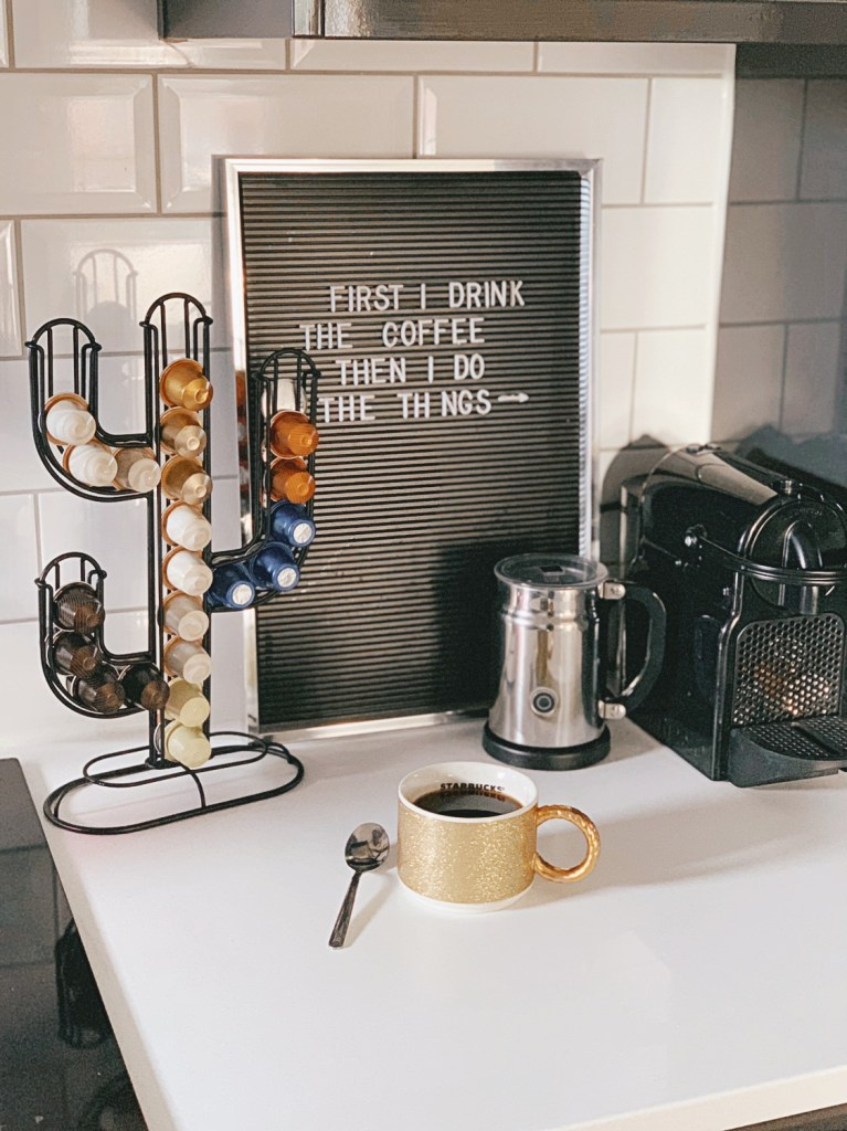 Nespresso machine cactus coffee pod holder letterboard kitchen subway tile