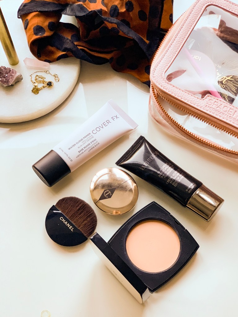 current makeup favourites jaye rockett beauty products on dressing table