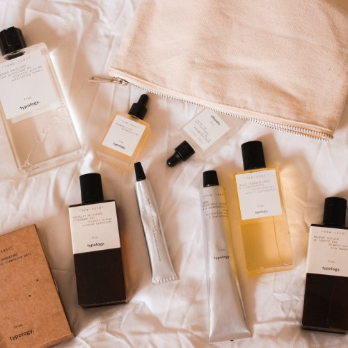 jaye rockett Typology skincare uk launch skincare products on bed
