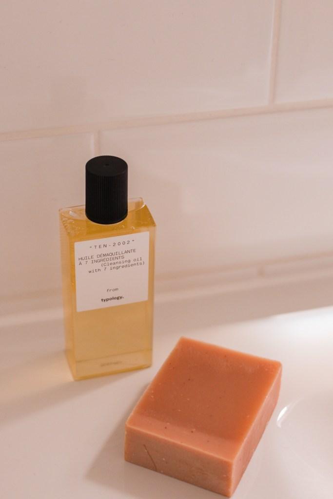 jaye rockett Typology skincare uk launch skincare products on bed