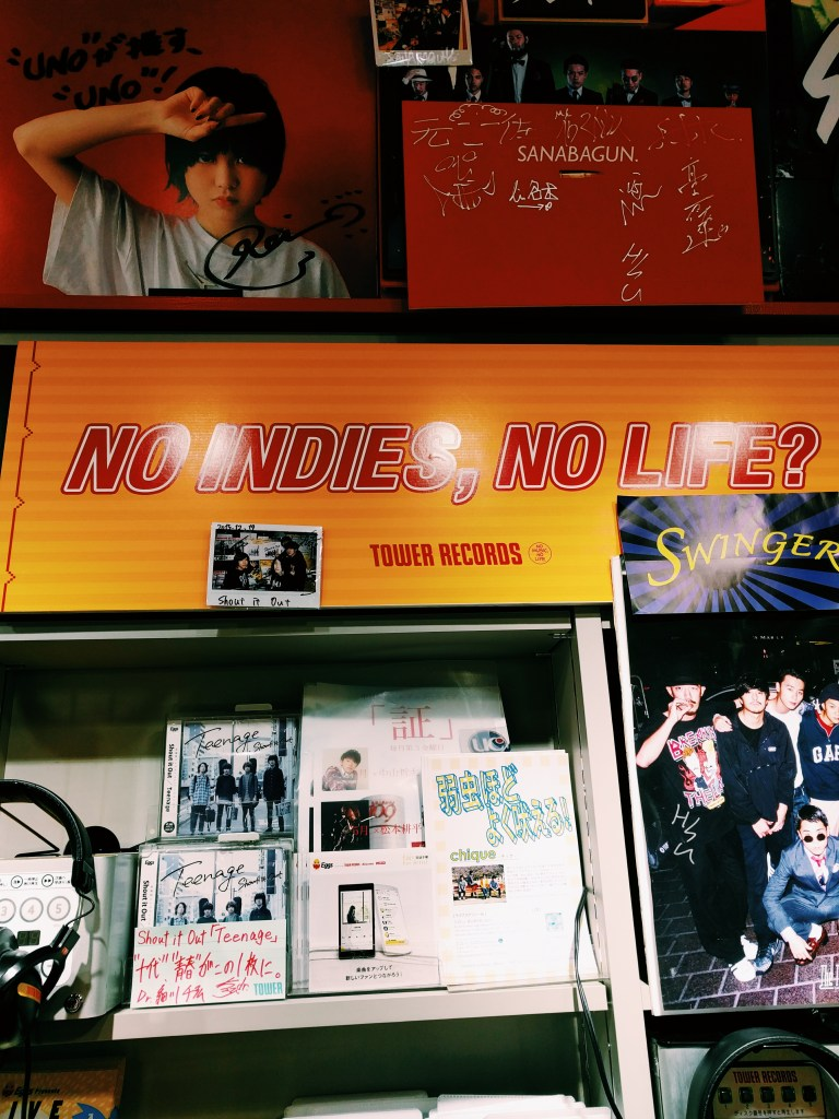 """No indie, no life?"" ""Yuhuh."" Tower Records, Shibuya."