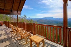 Above the Smokies is a luxury 5 bedroom cabin in Pigeon Forge. It offers incredible privacy with an amazing mountain view. Other features include a theater, arcade and high-end furnishings