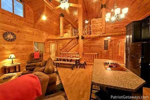 """""""Corthouse"""" is a four bedroom luxury cabin in Pigeon Forge offering huge wooden beams, luxury furnishings throughout, amazing family room with huge fireplace and window wall, and complete seclusion and privacy"""