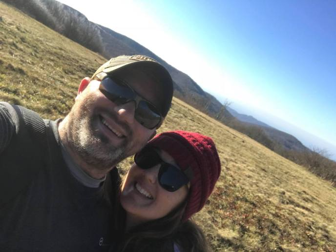 Jay Fradd, Gatlinburg realtor, on a hike with his wife Brooke in Western NC