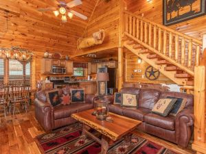 Misty Morning Lodge is a luxury three bedroom cabin rental in Gatlinburg. It features extreme luxury furnishings, amazing deck space, incredibly convenient location to Gatlinburg, and more
