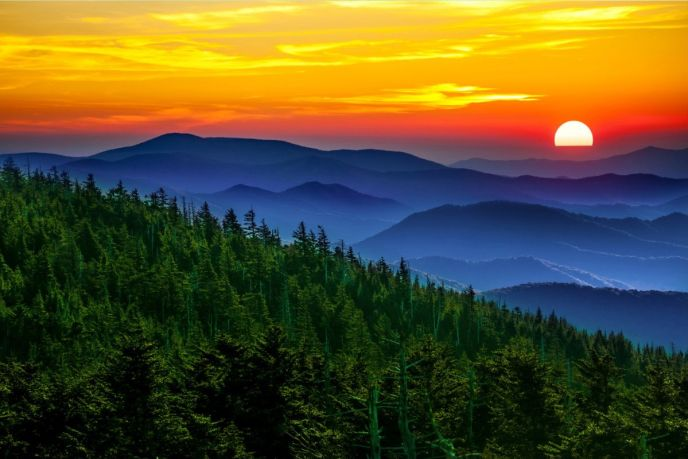 Great Smoky Mountains National Park - Layers of mountains from the Morton Overlook