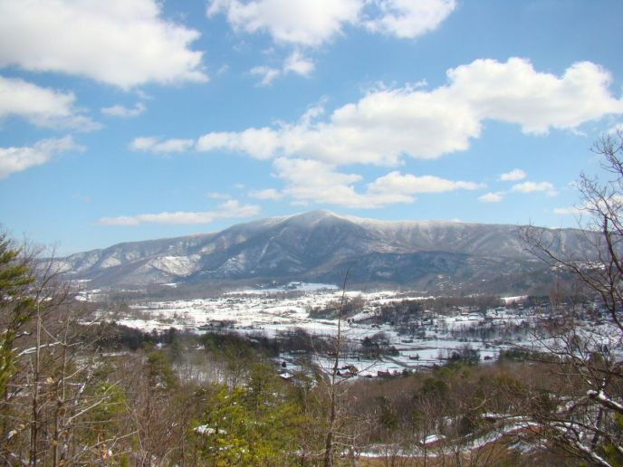 View from Teaberry Mountain of Cove Mountain covered with snow