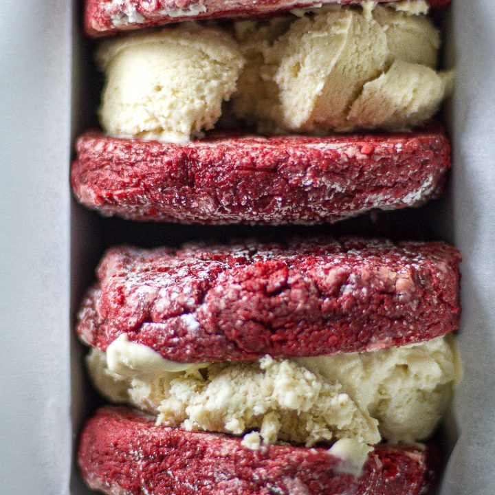 Red velvet affogato ice cream sandwich
