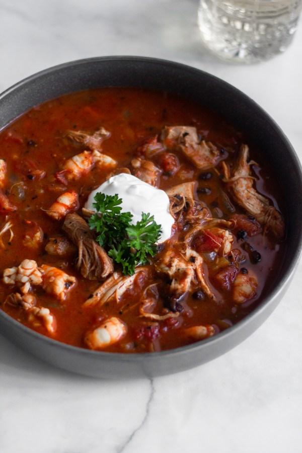 Spicy Black Bean Chicken & Shrimp Stew | A Little Food