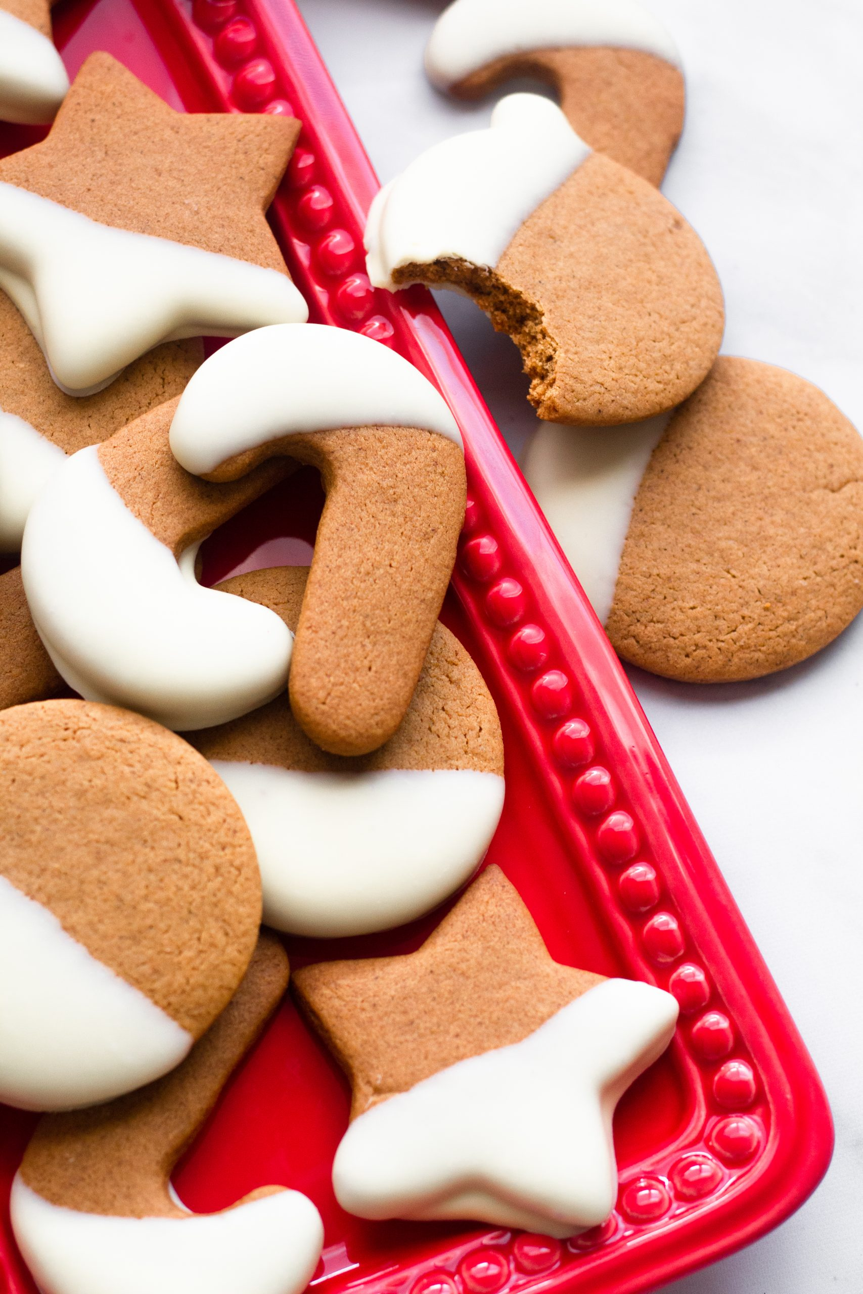 White chocolate dipped gingerbread cookies