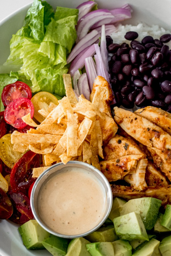 Barbecue chicken bowl with zesty BBQ dressing