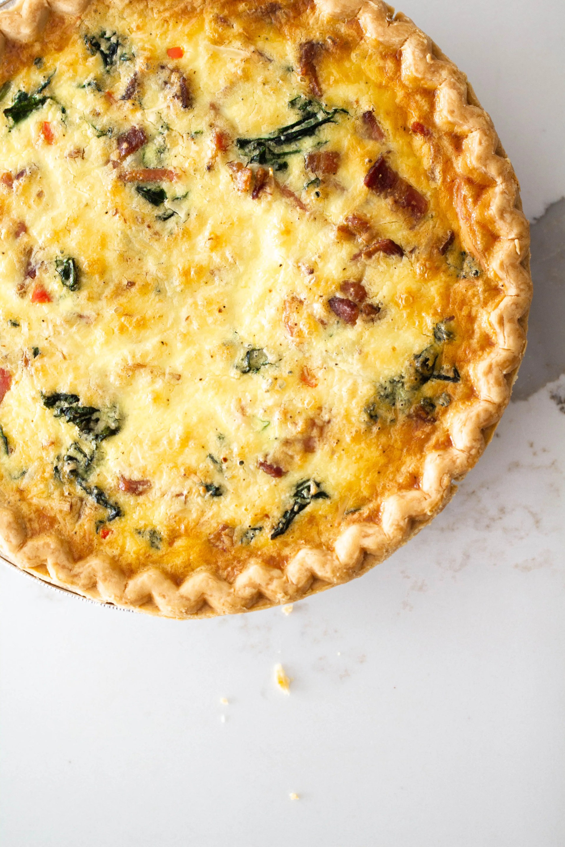 Bacon and kale quiche