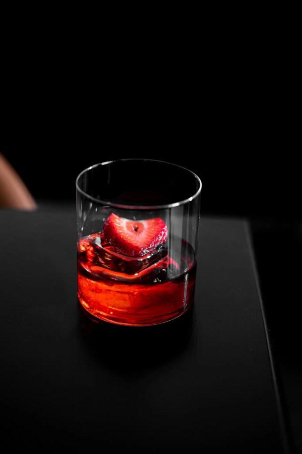 Strawberry negroni cocktail