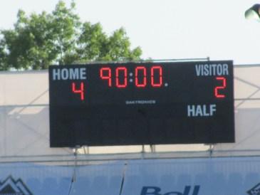 Empire Field scoreboard 4 - 2