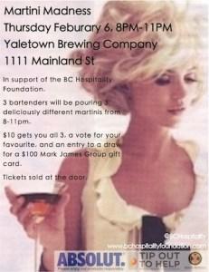 Yaletown Brewing Feb 6 Martini Night SM