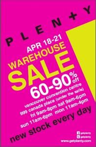 Plenty Warehouse Sale