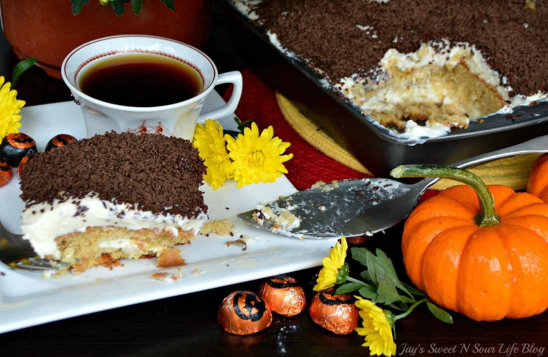 Pumpkin Tiramisu Served on plate. Fall means pumpkin and whats fall without pumpkin flavored desserts. Enjoy a slice of this amazingly easy to make Pumpkin Tiramisu with your morning cup of coffee.
